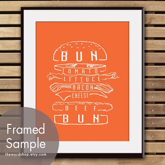 Hamburger Art - Art Print (Featured in Crimson Orange) (Buy 3 and get One Free) BBQ Party / Kitchen Print