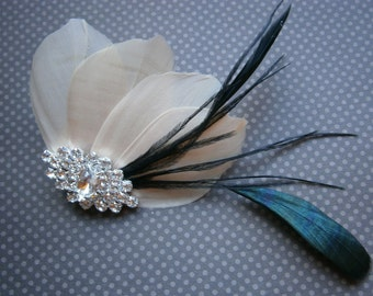 Ivory, champagne, feather, Weddings, hair, accessory, facinator, Bridal, Fascinators, Bride, veil - CHAMPAGNE TROUBLE