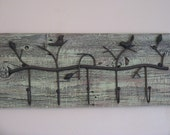 Coat and Bag Rack, Reclaimed Wood, Birds, Dill Green, Rustic