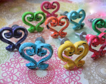 1 Distressed French Scroll Curve Knob Whimsical Custom Colors B-10