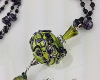 Handmade Art Deco Hollow Glass Bead Necklace