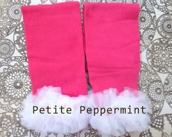 Baby Leg Warmers, Baby Leggings - Hot Pink White Ruffle Leg Warmers