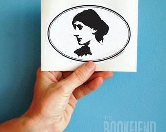 Virginia Woolf oval bumper sticker