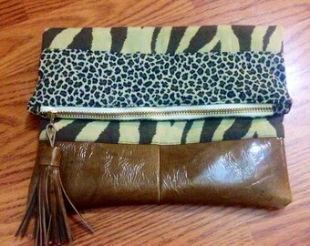 Leather and Animal Print Leopard and Zebra Foldover Clutch with Zipper