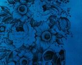 Dia de los Muertos Skull on Teal Corduroy Aline Cotton Skirt