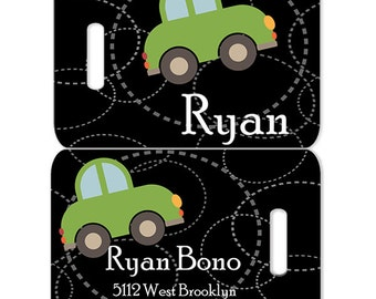 Little Roadster Boys Personalized Bag or Luggage Tag, Custom Personalized Luggage Tags, Monogrammed Bag Tags, Custom Monogrammed Bag Tags