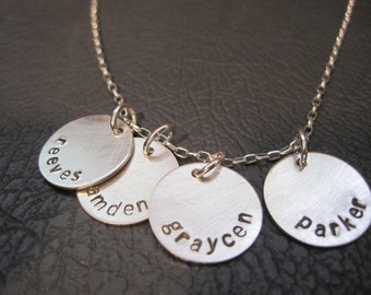 sterling silver stamped necklace, children's names, dates, family,kids,four round disks