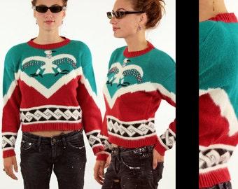 Vtg 80s Ethnic Southwest Sweater  // Boho Native American Totem Beaded Thunderbird Geometric Design // Hipster Shoulder Pad Sweater Sz S