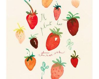 Fruit print, Strawberry art print, Watercolor fruit painting, 8X10 poster print, Red Wall decor, Kitchen art, Food art Wall art Fruit poster