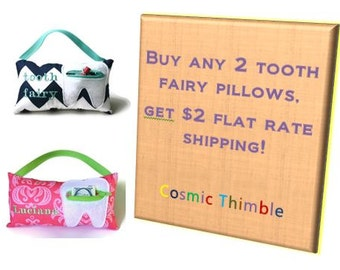 SALE:  2 Personalized Tooth Fairy Pillows of Your Choice with discounted pricing and shipping
