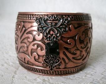 Copper Cuff Bracelet, medieval jewelry renaissance jewelry gothic jewelry victorian jewelry edwardian jewelry steampunk neo victorian goth