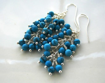 Silver and Turquoise Cluster Earrings Turquoise Earrings Turquoise Waterfall Earrings