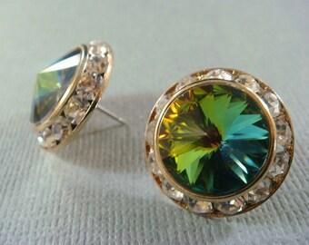 PEACOCK WEDDING Swarovski Crystal Wedding Studs / crystal stud earrings / bridal rhinestone peacock earrings