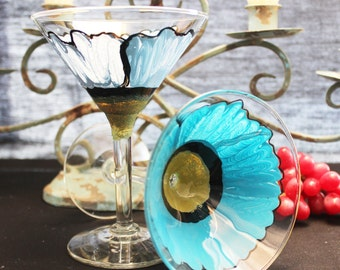 Wild Poppy Painted Martini Glasses,(2)  Hand painted Flowers,