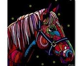 50% Off - Horse Art Tile Folk Art Ceramic Tile  Animal Tile Coaster  Modern Unique Gift Colorful Coaster Modern Art