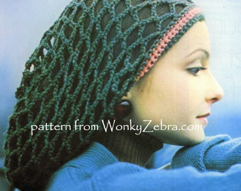 Vintage Crochet Snood and Scarf Patterns Slouch Hat PDFs 700 from WonkyZebra