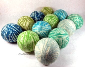 Wool Dryer Balls - Boys Will Be Dreamy Boys - Set of 12 - An Eco-Friendly Alternative to the Conventional Dryer Sheet and Fabric Softener!