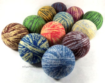 Wool Dryer Balls - Old Fashioned Swirl - Set of 12 - An Eco-Friendly Alternative to the Conventional Dryer Sheet and Fabric Softener!
