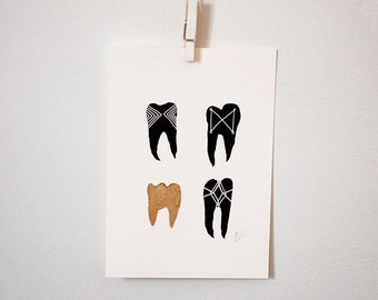 Gold Symbolic Teeth II print