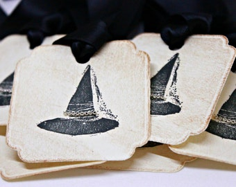 Halloween Gift Tags (Double Layered) - Witch Hat Tags - Vintage Inspired Handmade Halloween Tags (Set of 8)