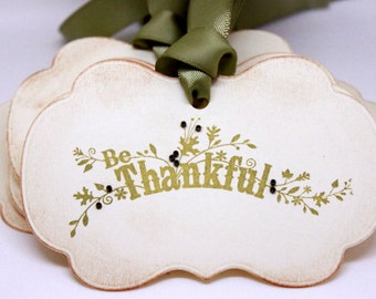 Vintage Inspired Thanksgiving Tags (Double Layered) - Be Thankful - Thanksgiving Napkin Rings Thanksgiving Place Setting (Set of 8)