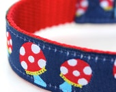Red Polka Dot Mushrooms Dog Collar, Adjustable Collar, Ribbon Pet Collar