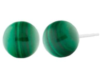 8mm Green Malachite Ball Stud Post Earrings, Solid 925 Sterling Silver, Malachite Bridal Ball Studs Earrings, Silver Malachite Earrings