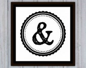 Ampersand Sign Art Print, Typography, Black and White &