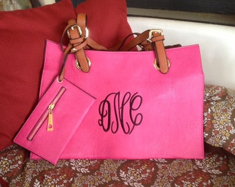 Monogrammed Kimmie Purse - Hot Pink with Brown Handles