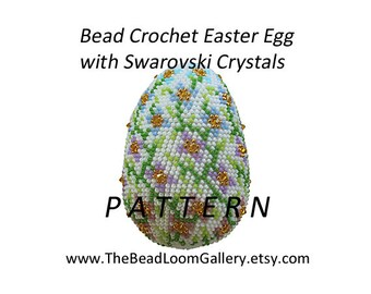 Easter Egg Pattern - Floral Egg - Crochet PDF File TUTORIAL - Vol.2 with Swarovski Crystals