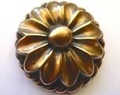 Single Antique Large Brass Art Deco Flower Button 35mm