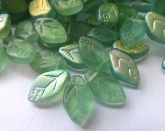 25 Czech Glass Leaves in Translucent Sage Green Matte AB  Size 12x7mm