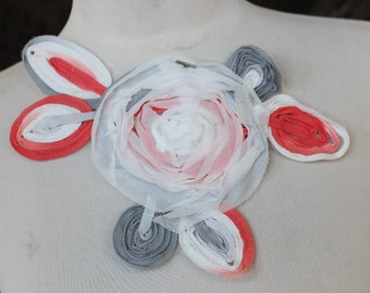 Cute  applique  with chiffon flowers  1 pieces listing