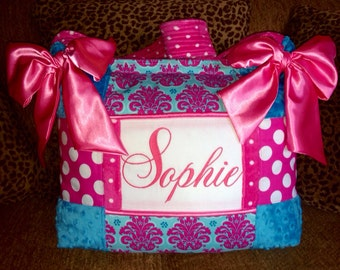 Turquoise and hot Pink Damask Polka Dots Diaper Bag Satin Bows HUGE