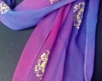 Pink Purple Silk Chiffon Scarf