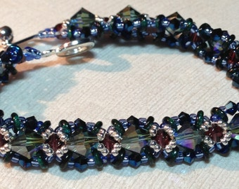 "Kit and Pattern ""O"" Tennis bracelet O beads crystals RAW seed beads"