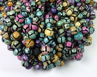 37 pcs 16 inch long faceted round Tibetan agate beads in 10mm