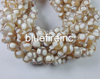 32 pcs 12mm round faceted hand paint Tibatan agate bead