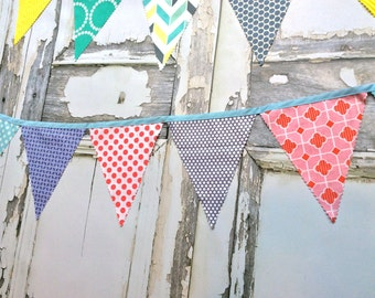Bunting Flags Fabric party Decoration orchid, sky blue, platinum, pink and poppy red