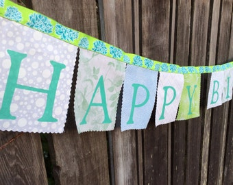Happy Birthday Banner Party Decoration in aqua, green and white blue peony flowers fabric party flags