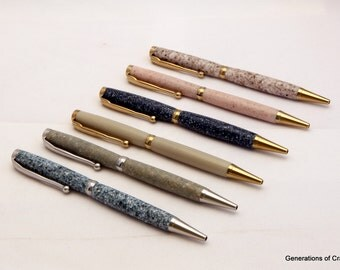 Handmade Pen - Corian Gold Titanium and Platinum Slimline -  Ballpoint Pens **Birthday gifts * Birthday Present ** Gift for Mothers Day