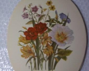 "Floral art print Loudon Florals wild flowers flower art print, bouquet vintage art print approx 9 1/2"" x 7 1/2"" each good condition unframed"