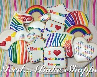 Rainbow Loom Inspired Sugar Cookies - Handmade, Decorated, 1 dozen