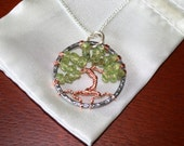 Peridot and Silver Tree of Life Necklace