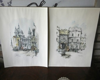 Vintage Pair of London Scene Print Pictures Windsor Castle/St. Paul's Cathedral