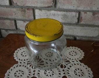 Vintage Yellow Lidded Jar