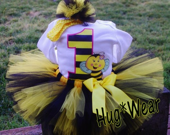 Bumble Bee Custom Birthday Shirt + Tutu outfit (any age)