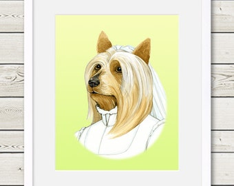Australian Silky Terrier Art - Australian Silky Terrier Bride - Dog Portrait Painting - Wedding Dog Art