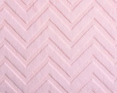 Minky - Chevron Embossed Baby Pink - Blush Chevron Fabric Shannon Fabrics, 1 Yard