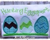 Easter egg hunt appliqué shirt Hunting Eggspert for boys